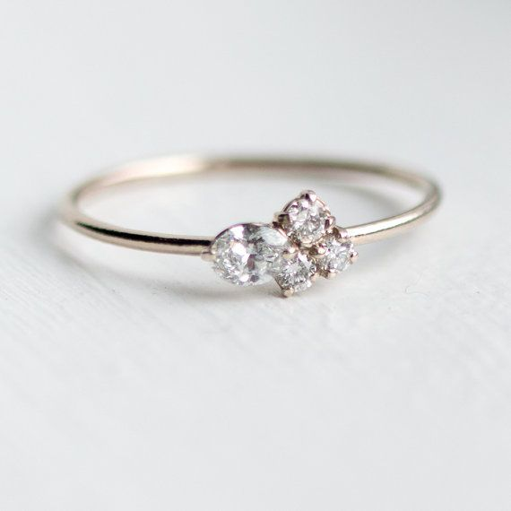 Snow Owl Mini Cluster Ring // Assymetrical Diamond Engagement Ring in 14k Gold /...