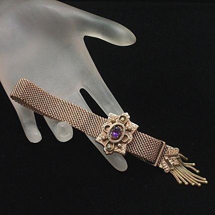 Gold and amethyst bracelet.