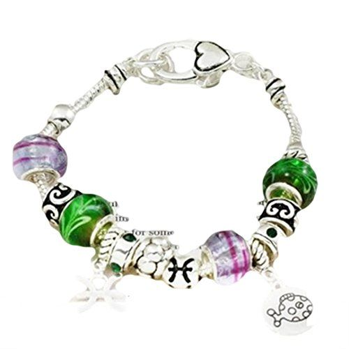 Pisces Charm Bracelet Murano Bead Feb March BK Green Lave... www.amazon.com/...