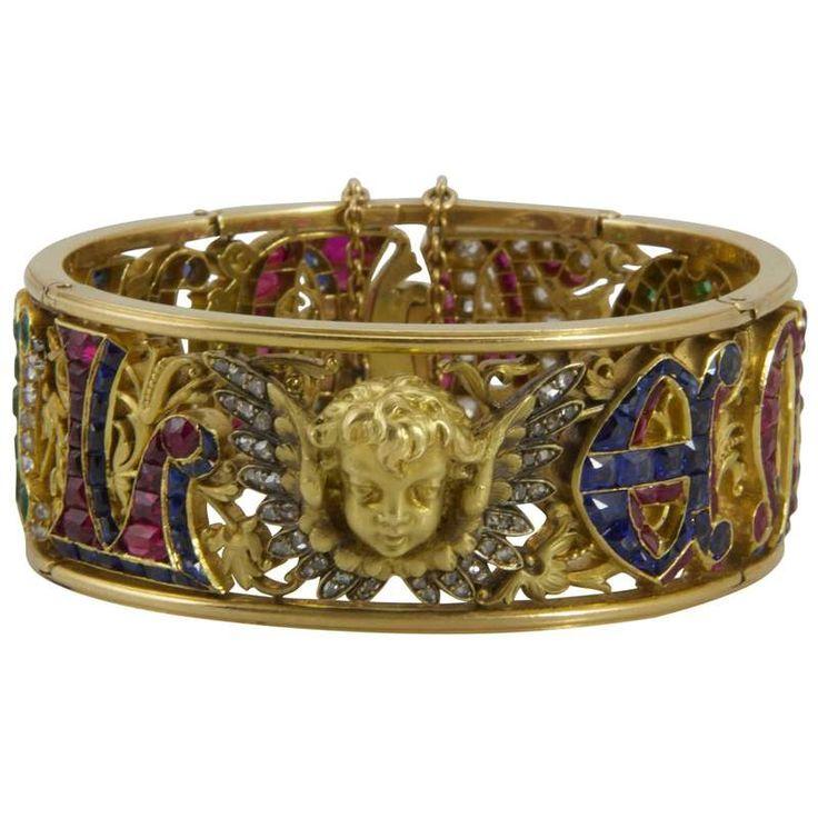 19th Century Four Precious Stones Bracelet