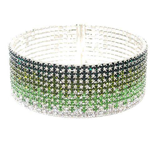 Amazing Green Rhinestone Bracelet Z3 Ombre Memory Wire Cu... www.amazon.com/...