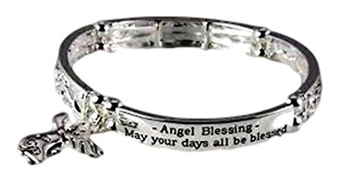 Angel Stretch Bracelet D9 Filigree Heart Engraved Blessin... www.amazon.com/...