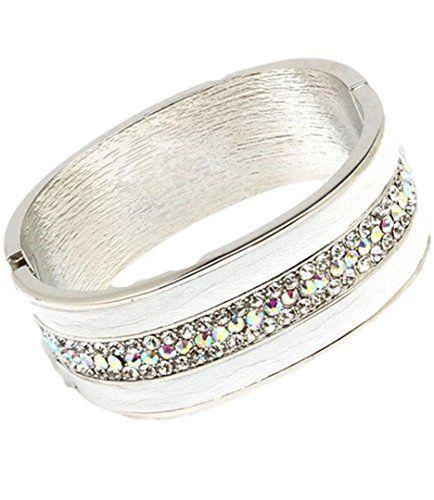 Bangle Bracelet White Faux Leather AB Crystal Cuff 1.25 i... www.amazon.com/...