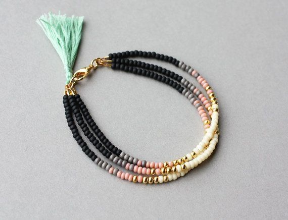 Beaded Tribal Bracelet Wrap Bracelet Bracelet door feltlikepaper by kara