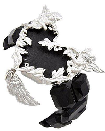 Black Framed Angel Wing Heart Bracelet D6 Luxury Plating ... www.amazon.com/...