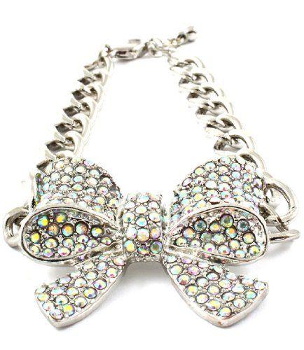 Bow Bracelet AB Crystals BB Rhodium Ribbon Recyclebabe Br... www.amazon.com/...