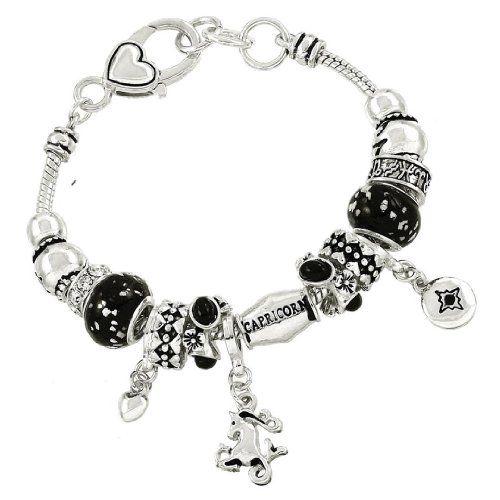 Capricorn Charm Bracelet BJ Black Crystal Murano Glass Zo... www.amazon.com/...