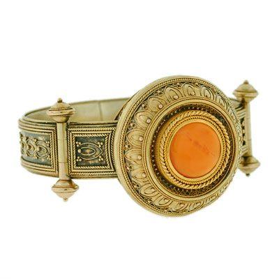 Carnelian and gold Etruscan revival bracelet, circa 1870.