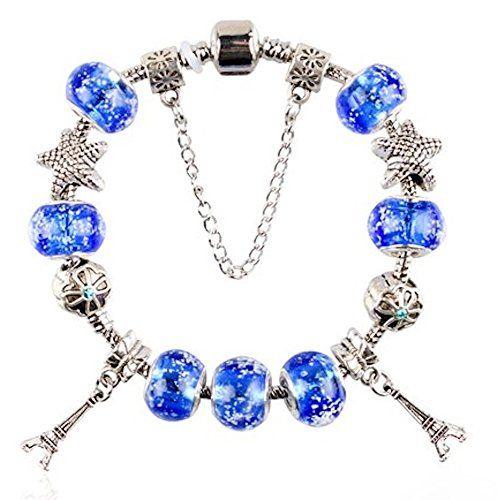 Assorted Charm Bracelet Z2 Eiffel Tower Starfish Clover Z... www.amazon.com/...