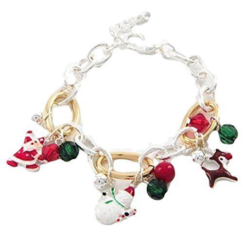 Christmas Charm Bracelet BQ Santa Rudolph Snowman Red Gre... www.amazon.com/...