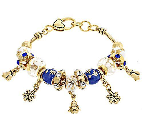 Christmas Winter Charm Bracelet C27 Blue White Murano Bea... www.amazon.com/...