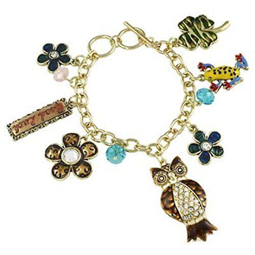 Chunky Good Luck Charm Bracelet H1 Frog Owl Four Leaf Clo... www.amazon.com/...