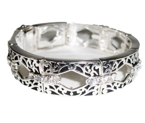 Crystal Magnetic Bracelet Filigree Silver Tone Recyclebab... www.amazon.com/...