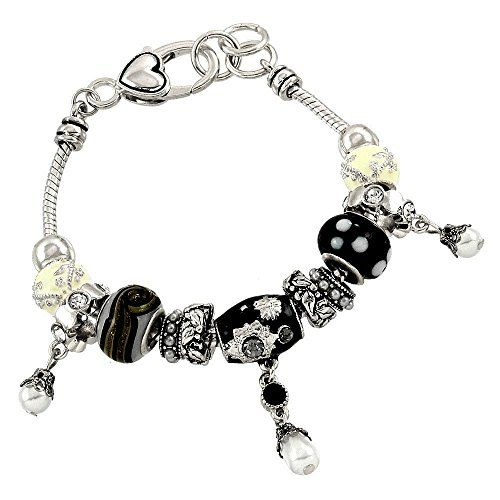 Bead Charm Bracelet C32 Crystal Synthetic Pearl Black White Ivory Silver Tone Re...