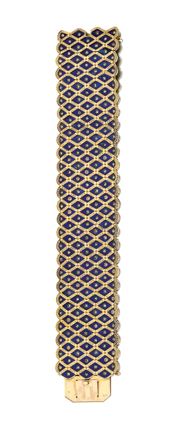 Diamond, enamel and gold bracelet.