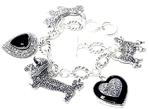Dog Heart Bracelet C23 Dachshund Scottie Poodle Silver To... www.amazon.com/...