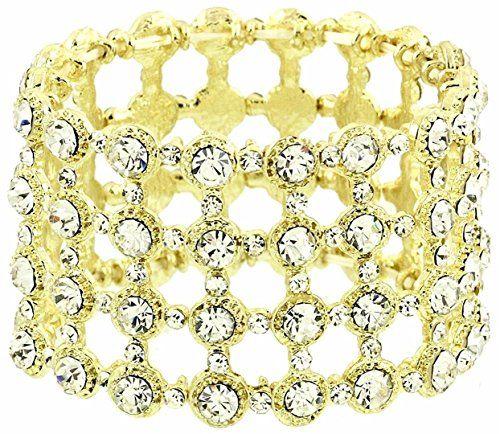 Fancy Stretch Bracelet BG Clear Crystal Luxury Plated Rec... www.amazon.com/...