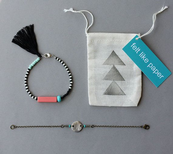 Friendship Bracelet Set - Black and White Bracelet with Tassel and Silver Coin B...