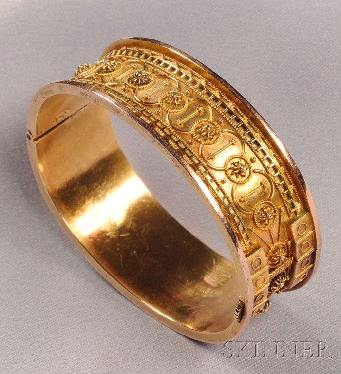 Gold Etruscan revival bracelet.