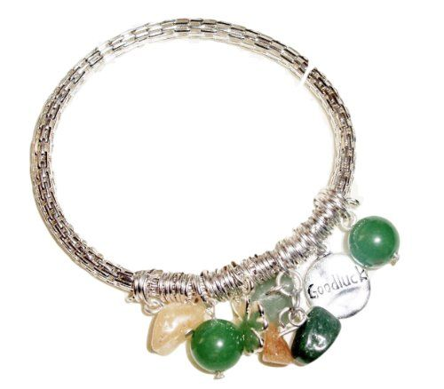 Good Luck Charm Bracelet C30 Irish Stretch Green Amber St... www.amazon.com/...