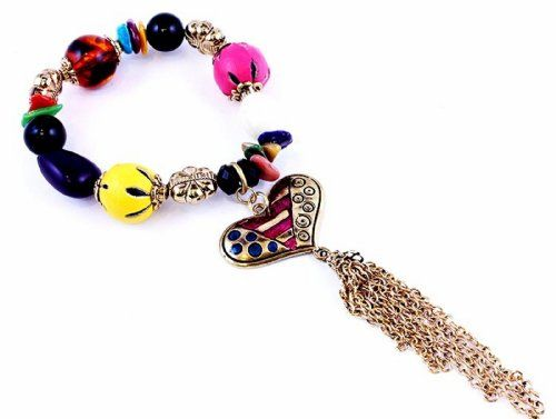 Heart Stretch Bracelet D6 Tassel Colorful Beads Recycleba... www.amazon.com/...