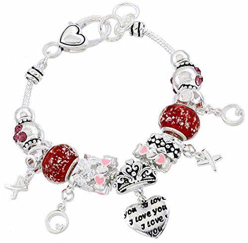I Love You Charm Bracelet Z1 Murano Beads Crystal Silver ... www.amazon.com/...