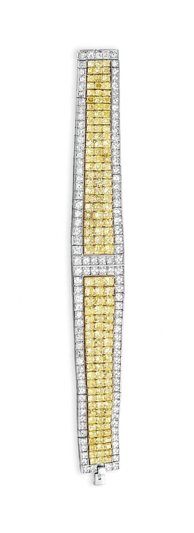 A COLORED DIAMOND AND DIAMOND BRACELET, BY DAVID MORRIS   Designed as a square-c...