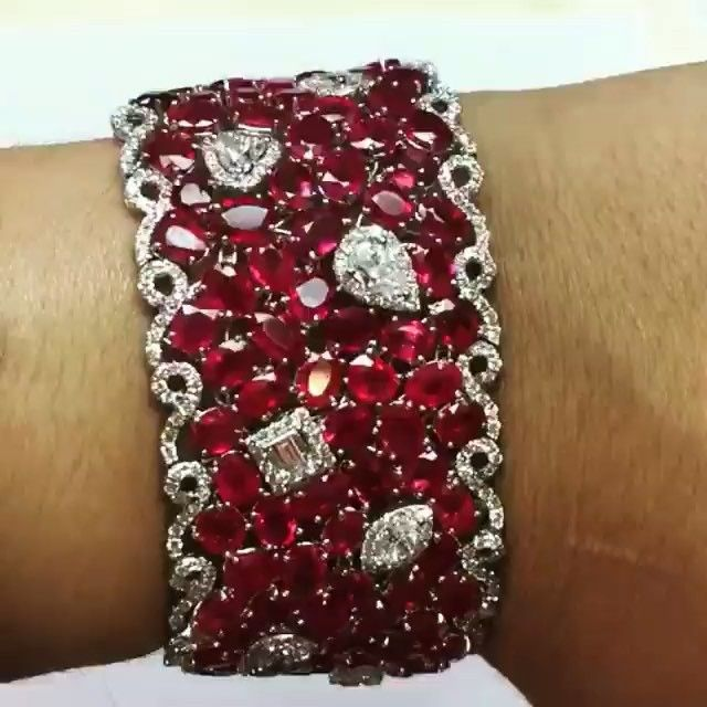 AMAZING!!! ❤️ #Ruby and #Diamond Cuff Bracelet by SES Creations…