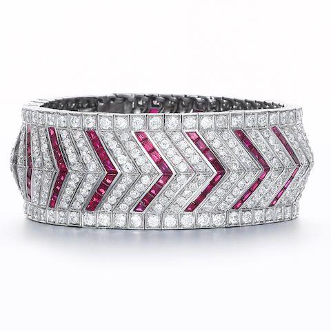 An art deco ruby and diamond bracelet, by Vever,