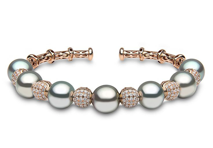 Blue Rose Bracelet in 18k rose gold with 1.08ct diamonds & Tahitian pearls 9-10m...