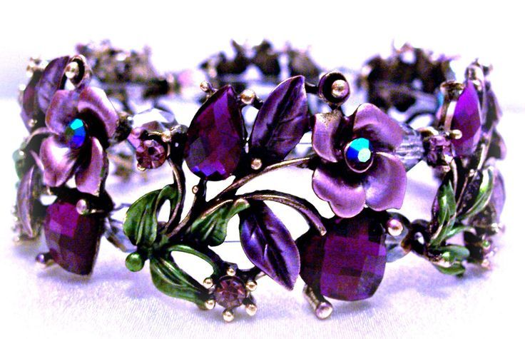 Bracelet Purple Roses Hearts Jewelry Design by CreationsByJanetUSA (aunt Laurie)