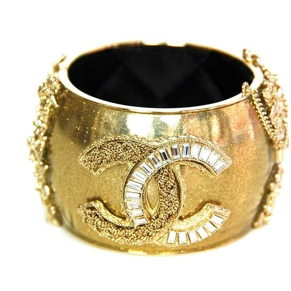 Chanel Gold Sparkly Cuff with Gold/Crystal CC by None, via Polyvore