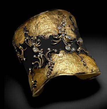Cuff | Judith Kaufman.  Oxidized fine silver, 22k yellow gold and diamonds.