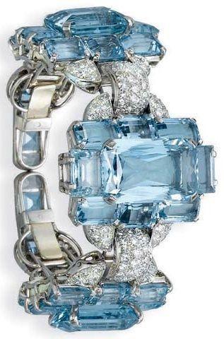 Deco Diamonds and aquamarine bracelet   Fashion Jewellery Antique  Rosamaria G F...