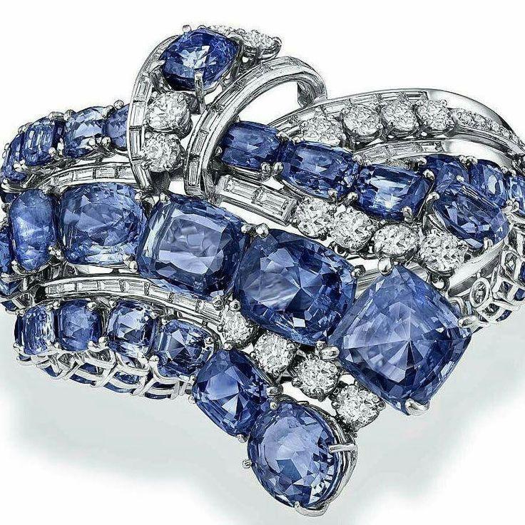 Giovanna Eleuteri's sensational Diamond & Sapphire Cascade Bracelet, circa 1950 ...