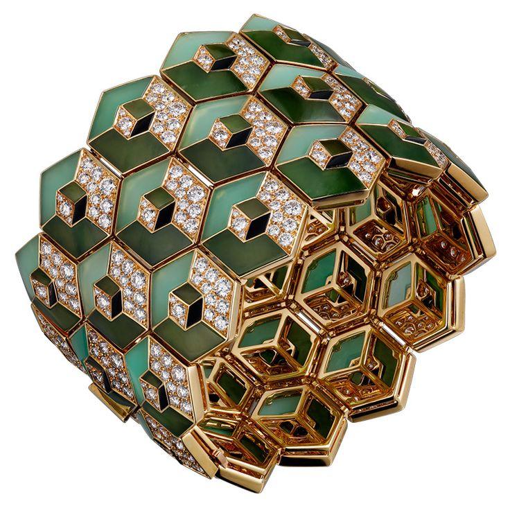 Gold, jade, chrysoprase, diamond, and onyx cuff - Cartier
