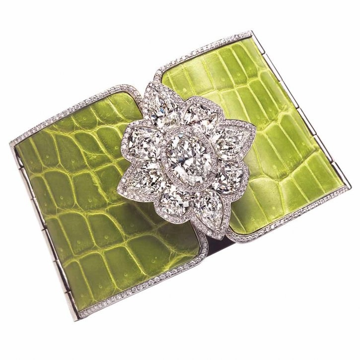 Leather cuff in white gold with more than 18-carats of diamonds by William Goldb...