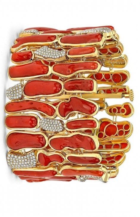 Natural red coral bracelet by Pamela Huizenga