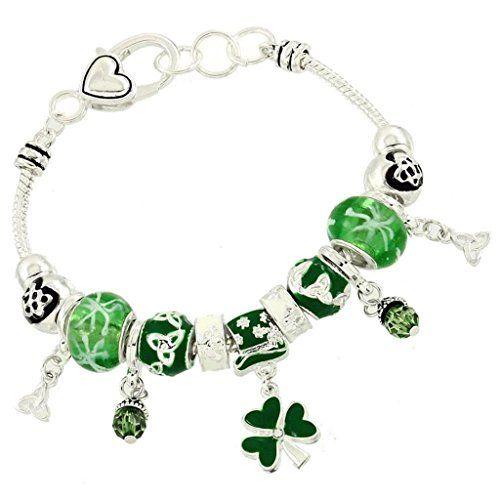 Irish Charm Bracelet BW Green Murano Beads Crystal Shamro... www.amazon.com/...