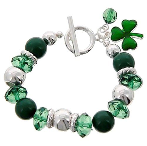 Irish Shamrock Stretch Charm Bracelet Z4 Crystal Green Si... www.amazon.com/...