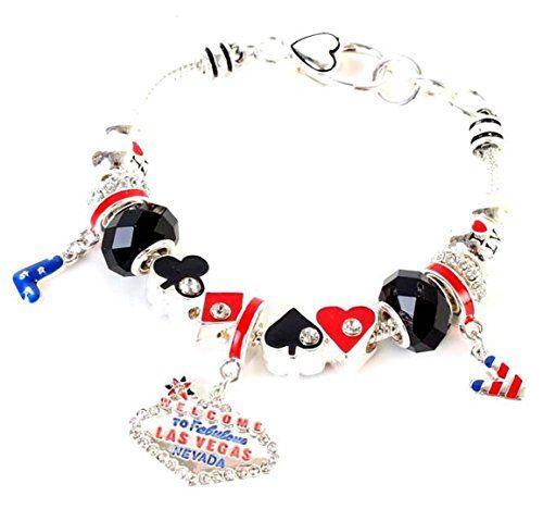 Las Vegas Charm Bracelet D6 Casino Murano Card Symbol Wel... www.amazon.com/...