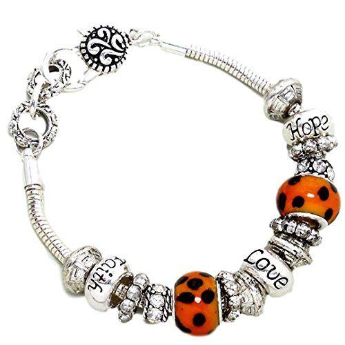Leopard look Charm Bracelet C57 Clear Crystal Murano Bead... www.amazon.com/...