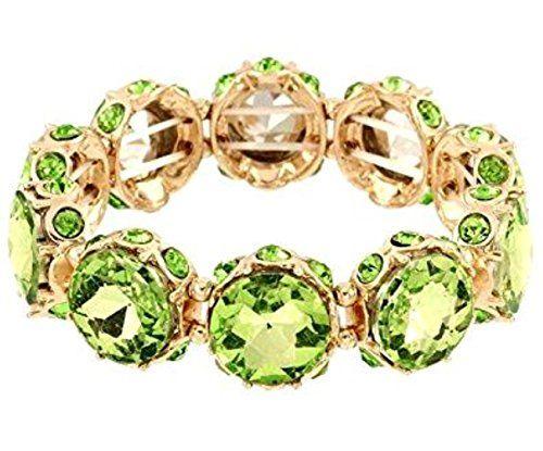 Light Green Stretch Bracelet BS Round Crystal Glass Stone... www.amazon.com/...