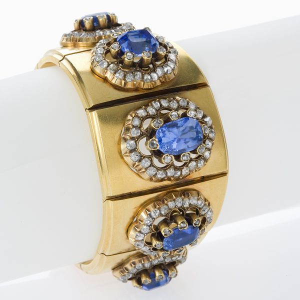 Mellerio dits Meller French Antique Blue Sapphire,  Diamond and Gold Bracelet