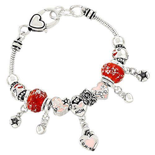 Mom Charm Bracelet C57 Red Murano Bead Tiny Heart Charm S... www.amazon.com/...