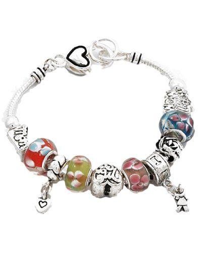Mom Mother Charm Bracelet G10 BZ Murano Glass Beads Beaut... www.amazon.com/...