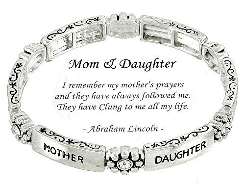 Mother Daughter Stretch Bracelet H2 Clear Crystal Ornate ... www.amazon.com/...