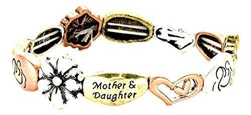 Mother Daughter Stretch Bracelet Z11 Burnish Tri Tone Flo... www.amazon.com/...