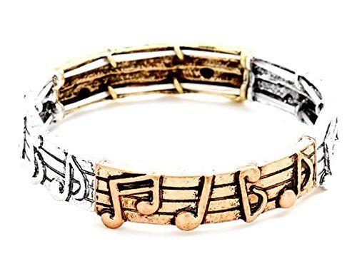 Music Note Bracelet C21 Stretch Bangle Staff Tri Tone Sil... www.amazon.com/...