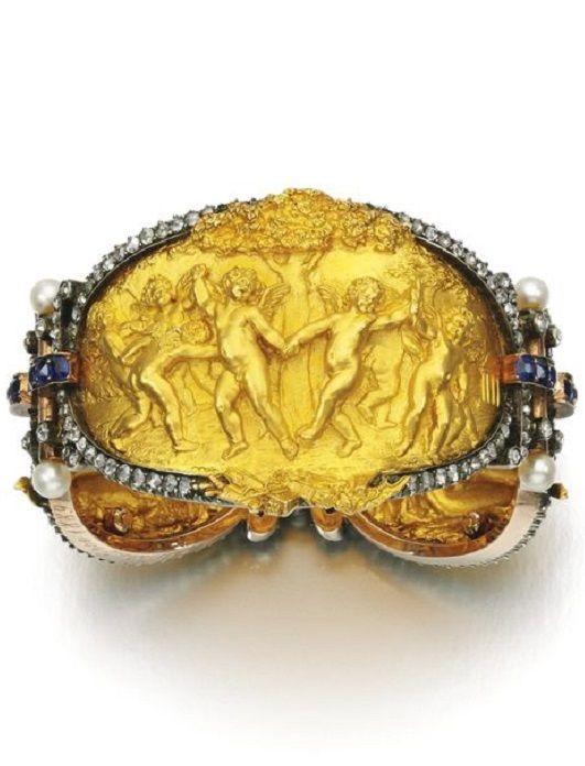 Natural pearl, sapphire and diamond bracelet, Eugenio Bellosio, circa 1889. Desi...